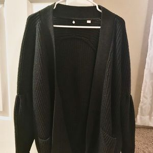 Dark gray oversized Anthropologie cardigan